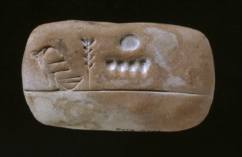 Inscribed clay tablet featuring food rations