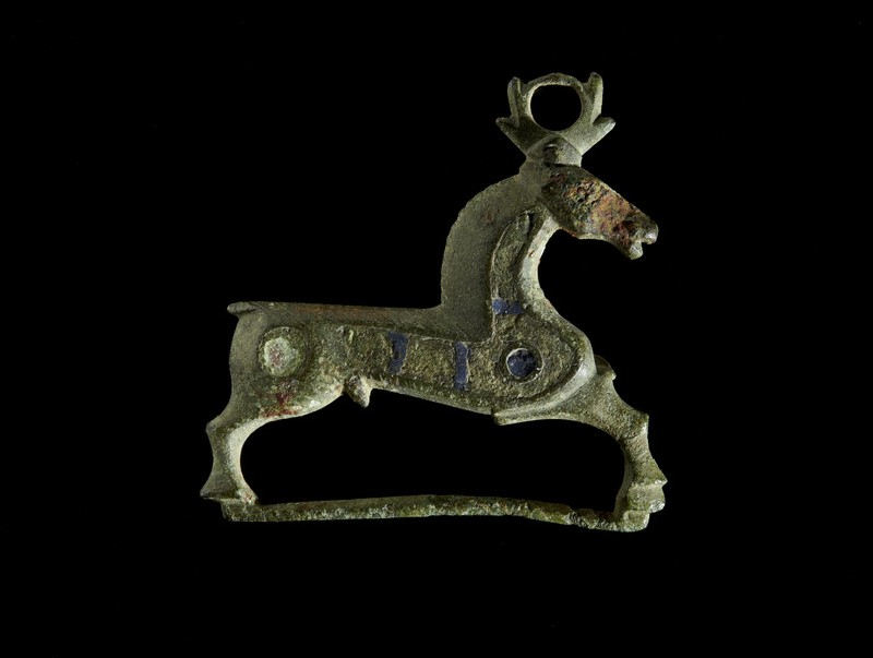 Enamelled bronze brooch in the form of a stag (AN1927.417)