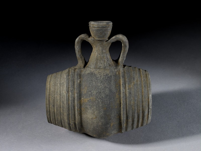 Barrel-shaped ceramic vessel with a neck shaped like an amphora