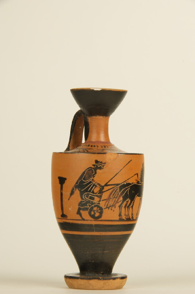 Attic black-figure pottery lekythos depicting a mythological scene (AN1927.4061)