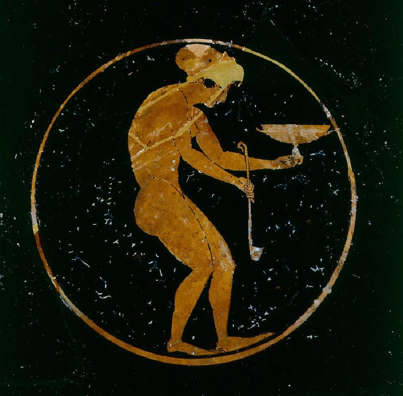 Attic red-figure stemmed pottery cup depicting a mythological scene