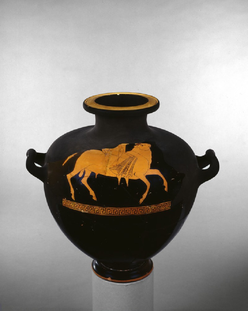 Attic red-figure pottery hydria depicting a mythological scene