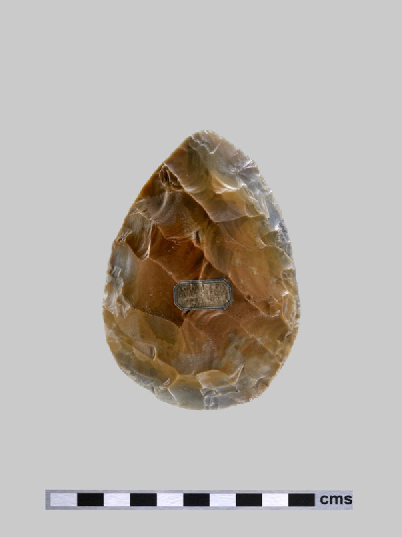 Palaeolithic flint handaxe with a twisted ovate form