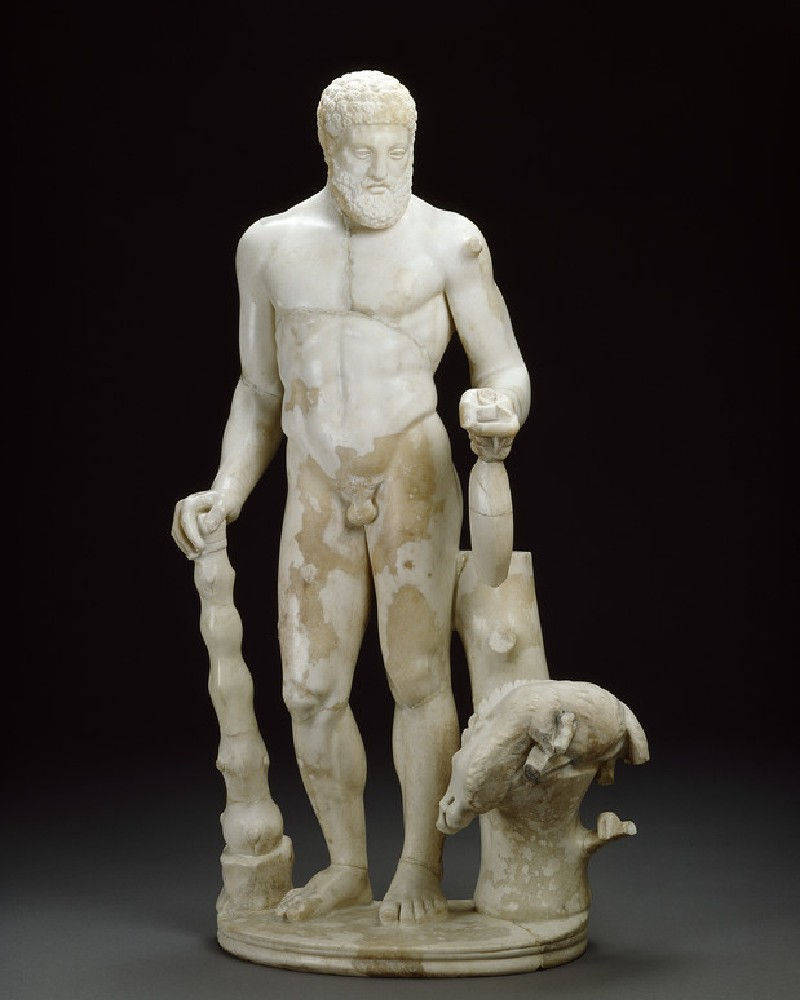 Marble statuette of Hercules and the Erymanthian boar (AN1928.529)