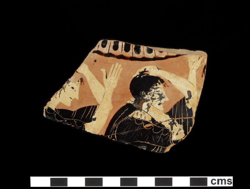 Attic black-figure pottery loutrophoros fragment depicting a funerary scene (AN1929.164)