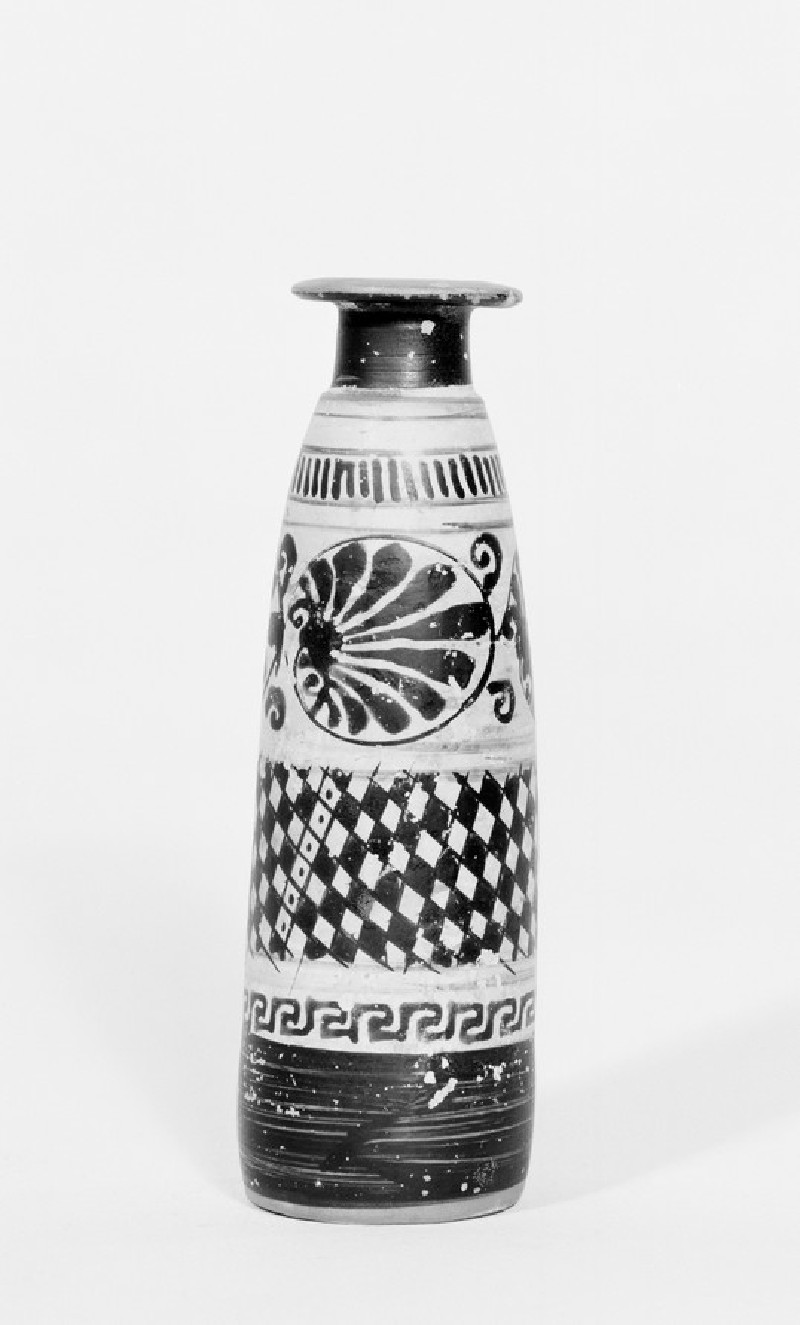 Attic black-figure white ground pottery unguent jar (AN1930.617)