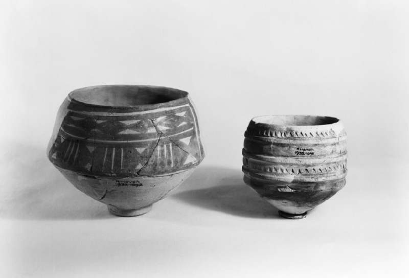 Jar, upper part of sides decorated with a series of ridges