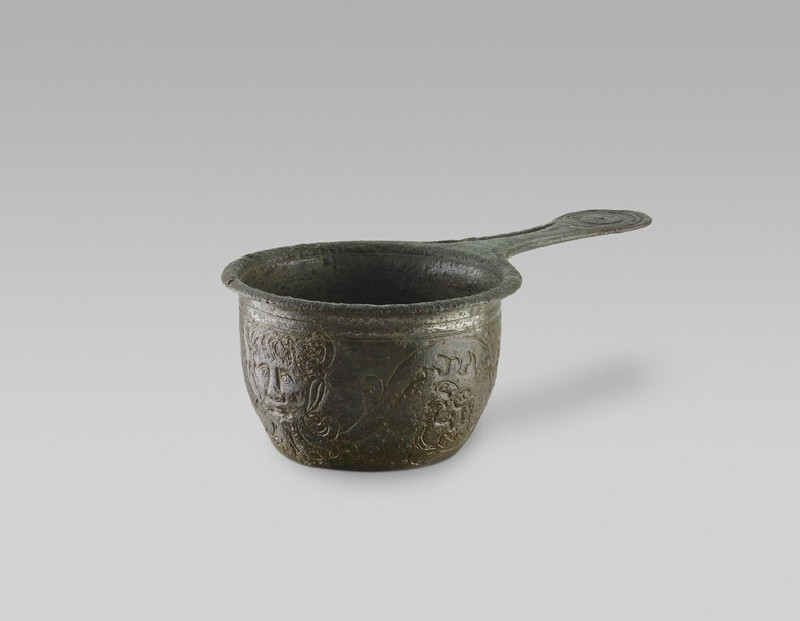 Bronze casserole with Latin inscription and depiction of Pan