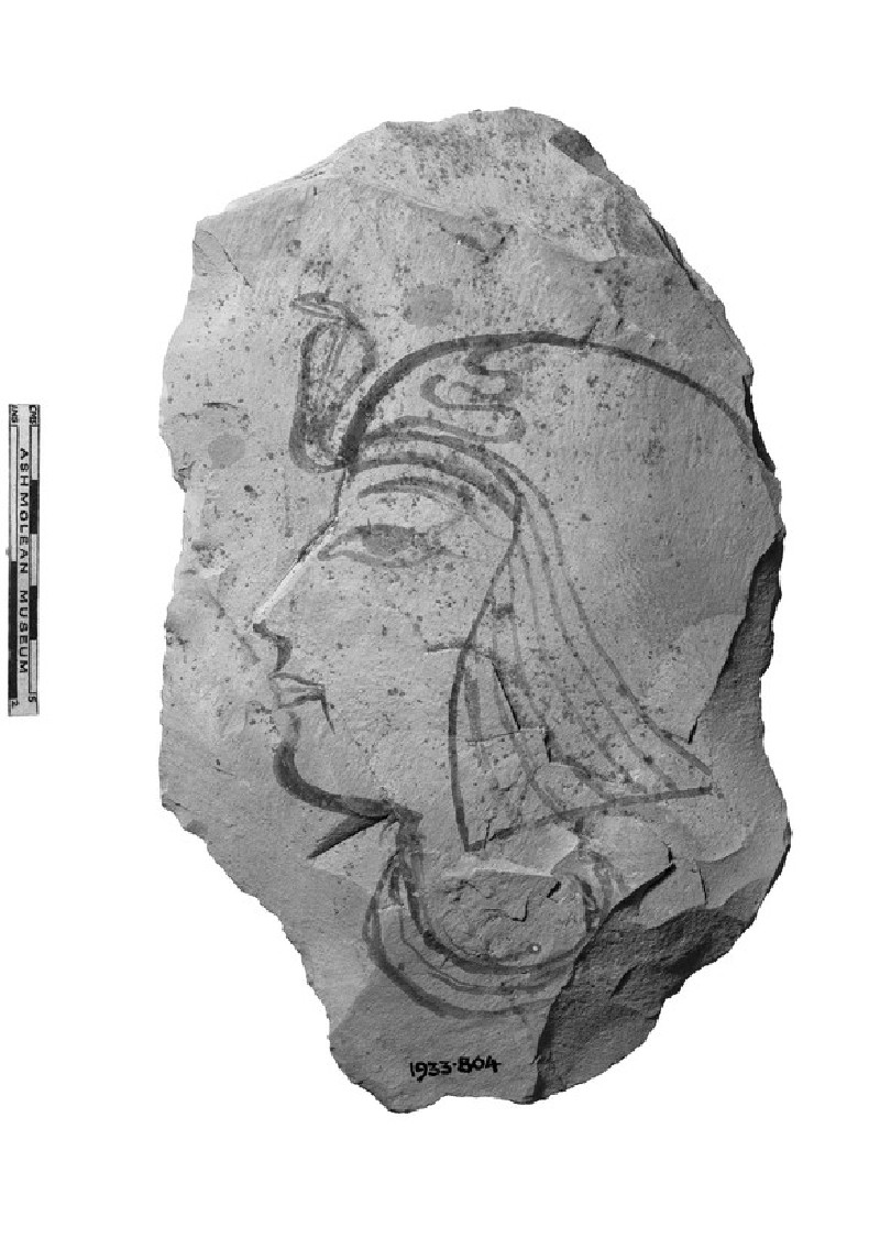 Limestone ostracon fragment with sketch of the head of a king or prince (AN1933.804)