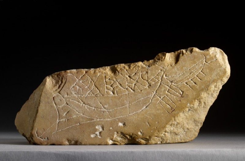 Marble step fragment with ship graffito