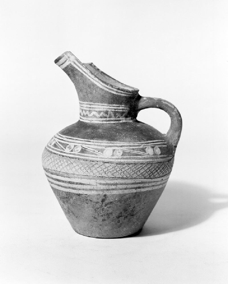 Spouted jug with painted and incised pattern, derived from that of Early Minoan III style