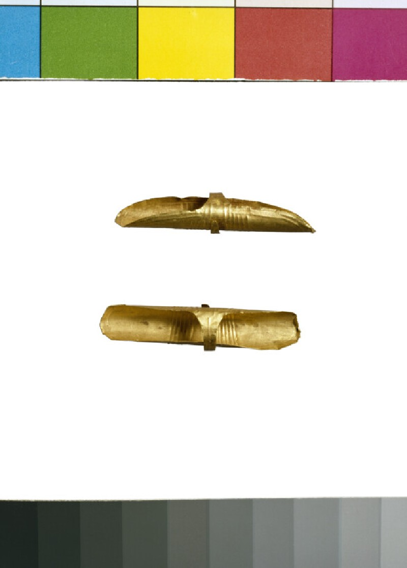 Pair of sheet gold basket 'earrings' (or hair ornaments)