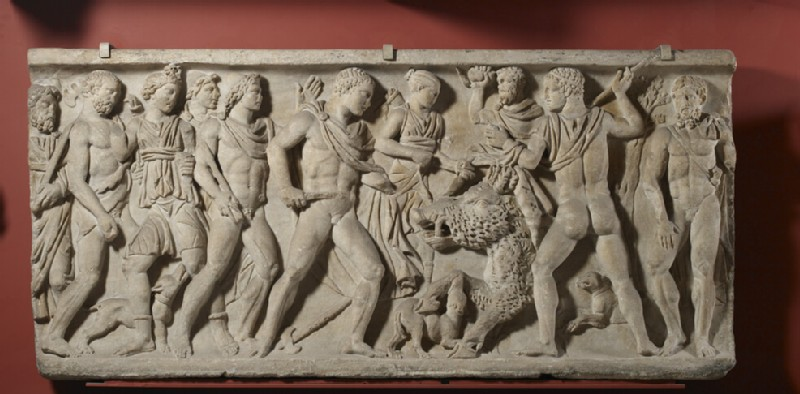 Front of a Roman sarcophagus, Meleager hunting the boar of Calydon, sent by Diana as punishment for a neglected sacrifice