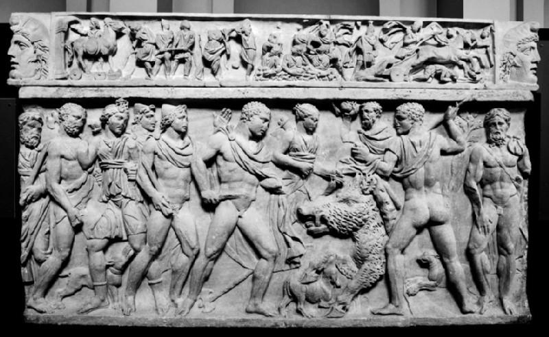 Front of a Roman sarcophagus, Meleager hunting the boar of Calydon, sent by Diana as punishment for a neglected sacrifice (AN1947.278)