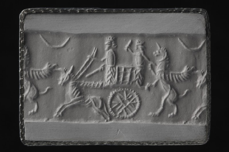 Cylinder seal with ox-drawn chariot scene (AN1949.908)
