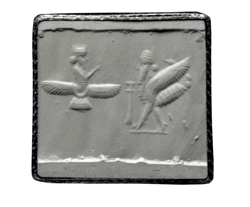 Cylinder seal with scene of God in winged disk, an altar and winged scorpion-man