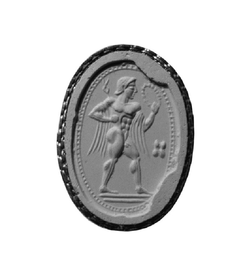 Scaraboid sealstone, Hermes with wreath, caduceous and atralagus (AN1953.133)
