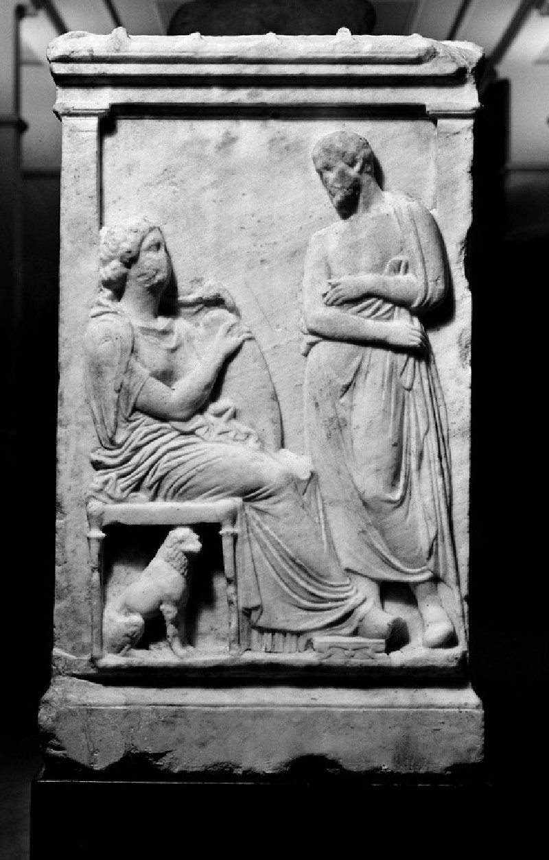 Attic grave altar with figurative relief decoration, bearded man says goodbye to seated woman