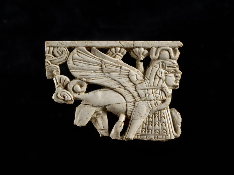Fragment of openwork ivory panel carved with a winged and skirted human-headed sphinx