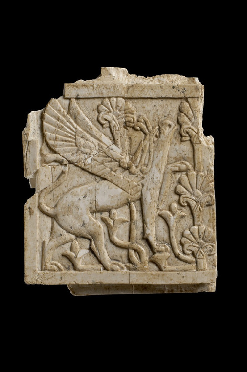 Carving in relief: a plumed griffin salutes a palmette-tree