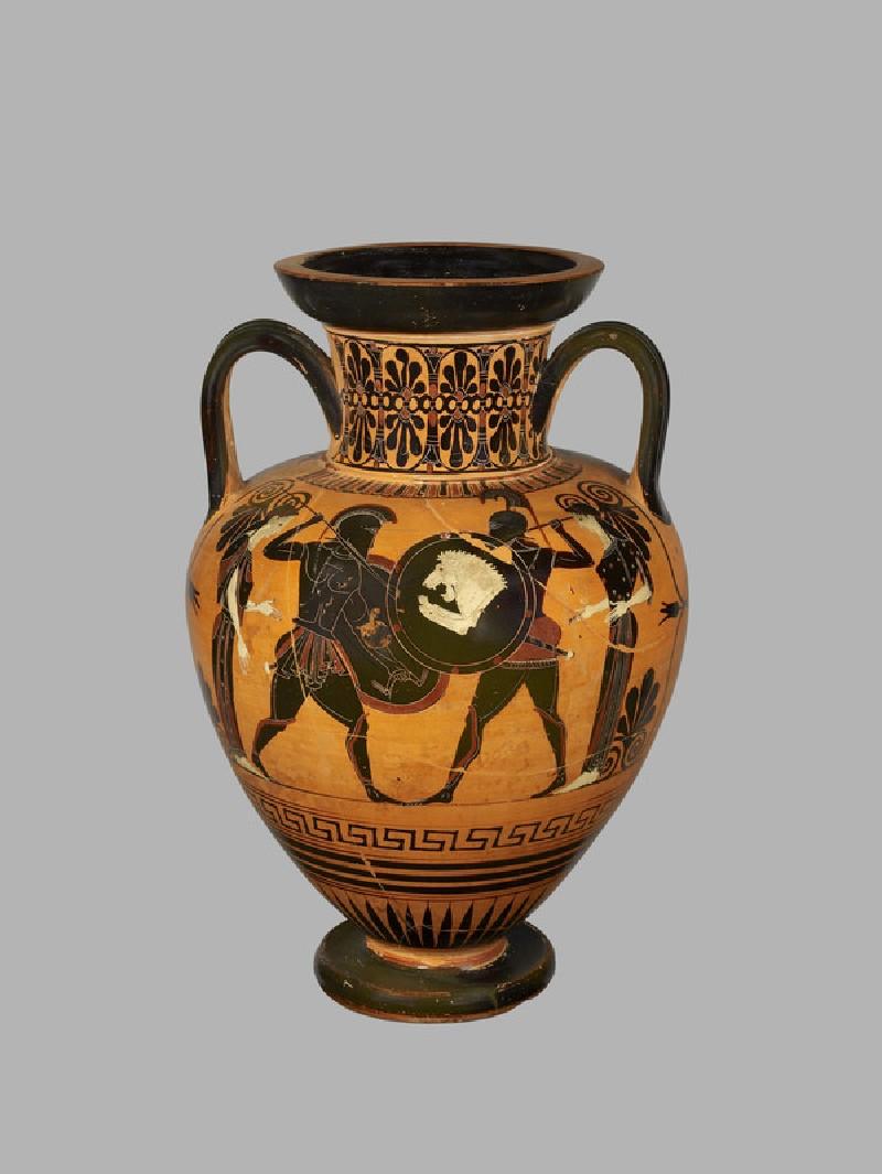 Attic black-figure pottery amphora depicting a mythological scene