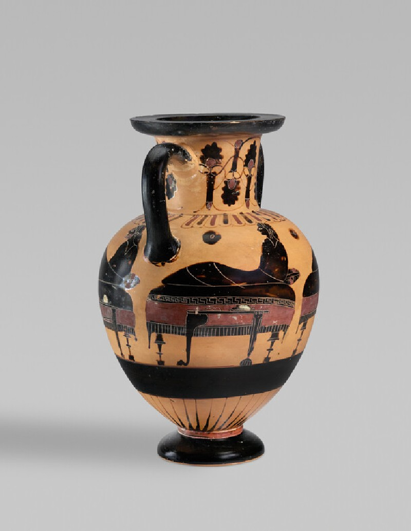 Chacidian black-figure neck-amphora depicting a symposiastic scene (AN1965.132)