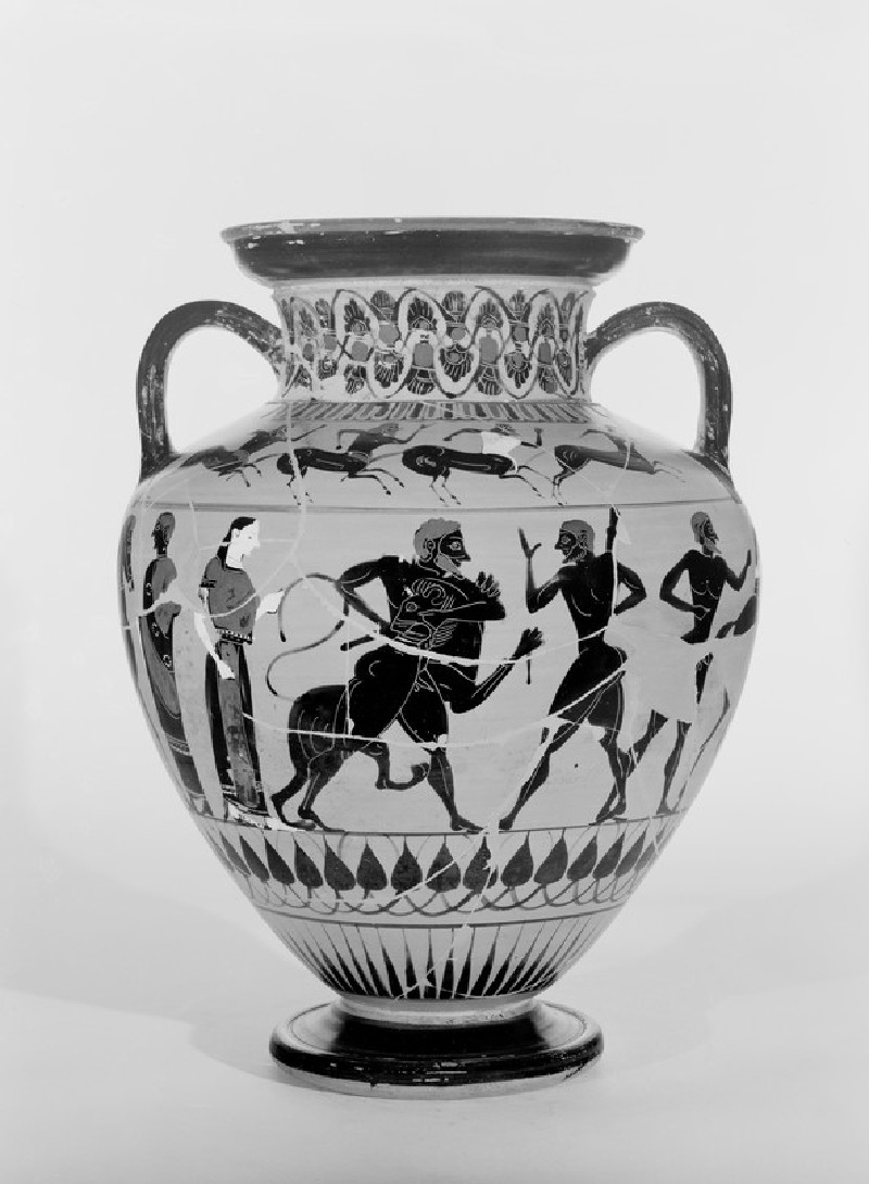 Attic Black-figure pottery amphora depicting a mythological scene (AN1965.135)