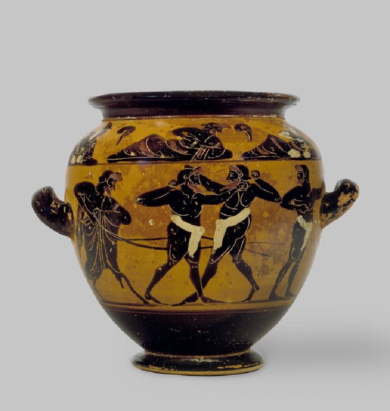 Attic black-figure pottery stamnos depicting an athletics scene (AN1965.97)