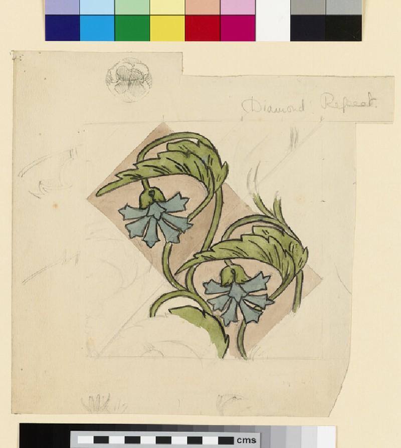 Waterlily Design for a Cloisonné Tile