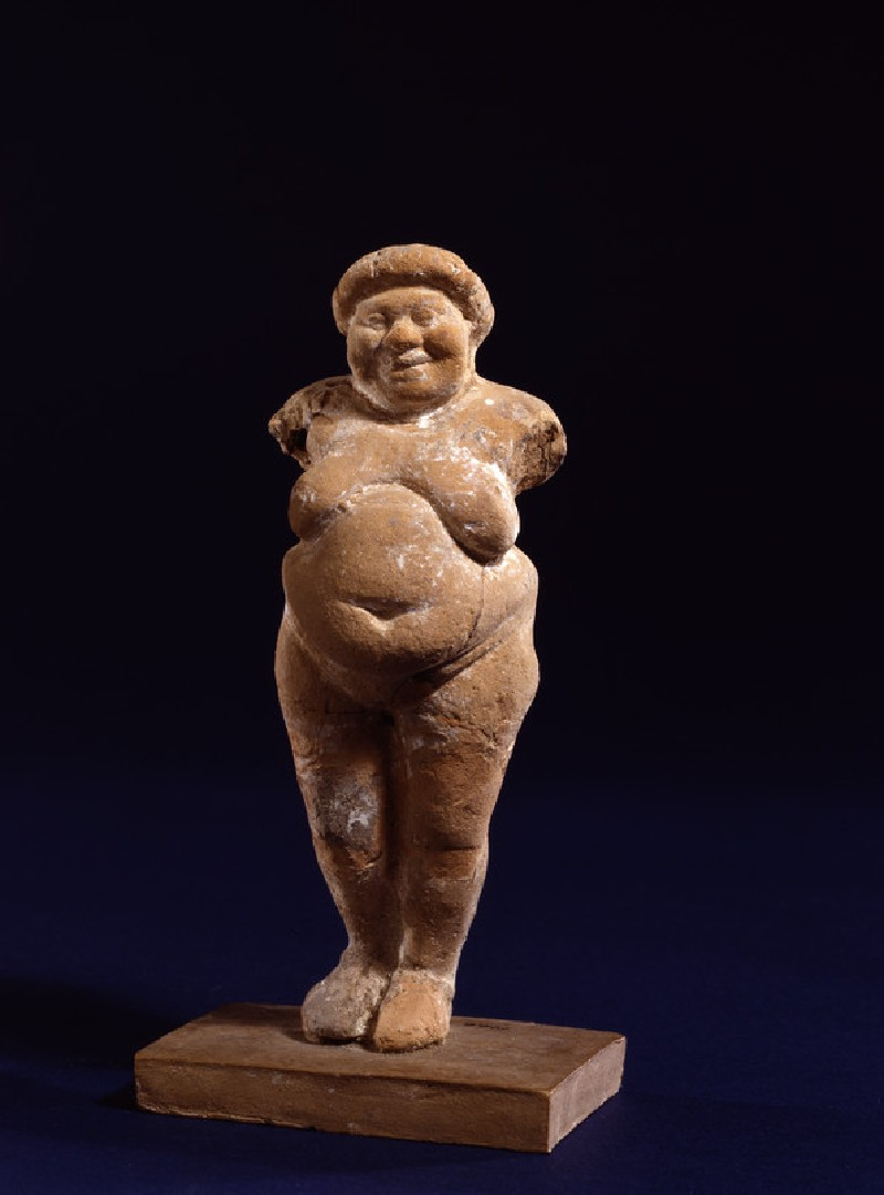 Terracotta figurine of a fat naked standing woman