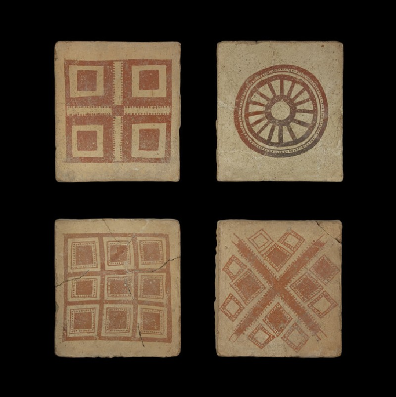 Tile with painted geometric design of four squares within a large square (AN1968.1527)