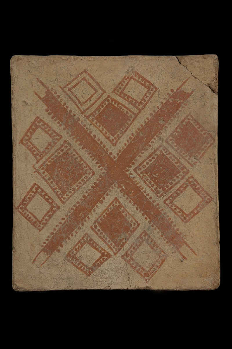 Terracotta tile with painted geometric design of central diagonal cross with three squares set within each opening (AN1968.1528)