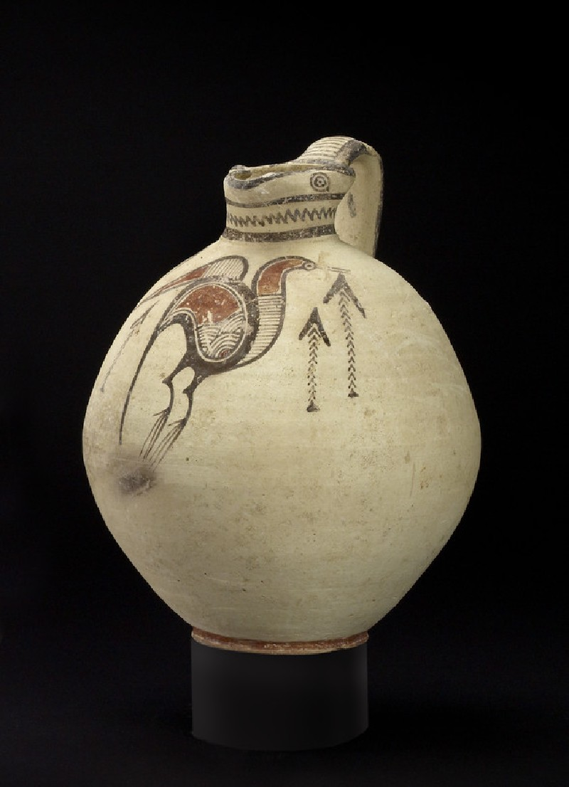 Free-field bichrome jug with image of Ibis birds and reeds (AN1969.645)