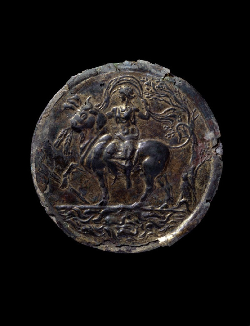 Gilded bronze mirror depicting Europa and the bull