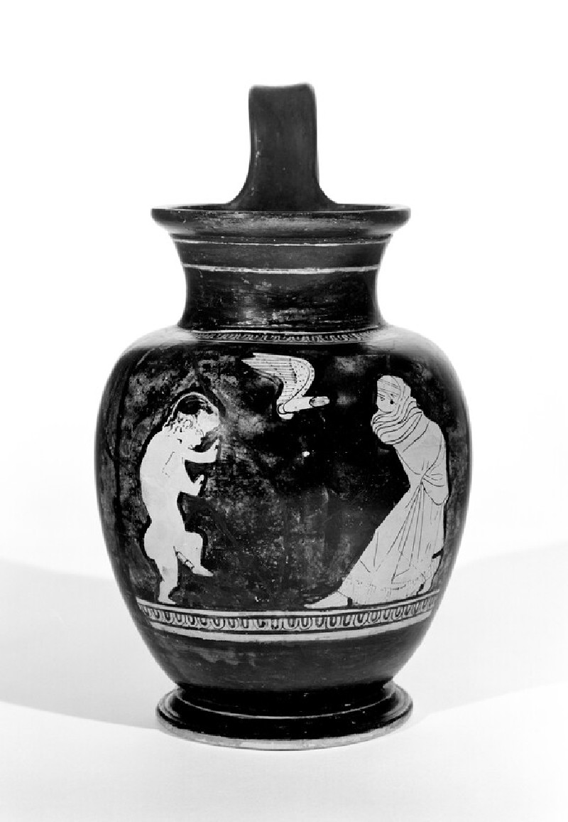 Attic red-figure pottery jug depicting a courting scene
