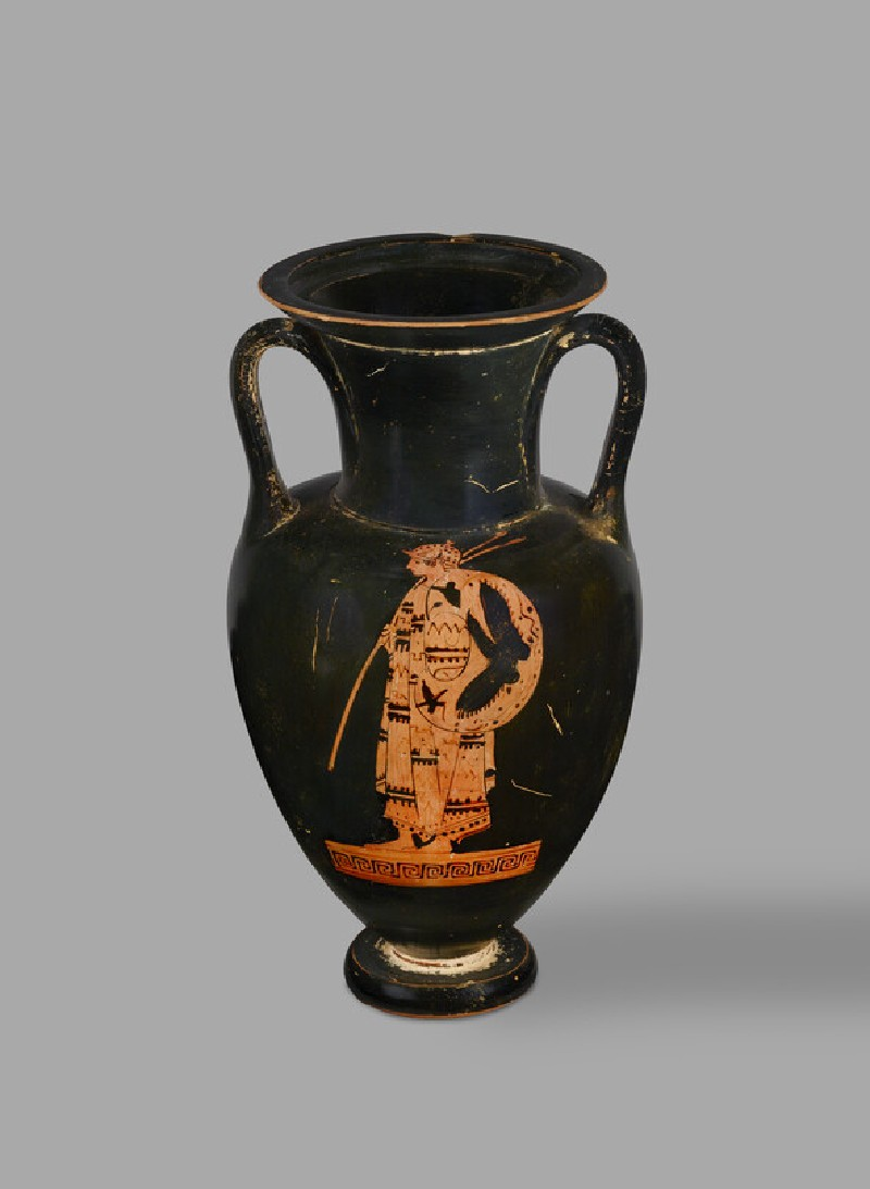Attic red-figure pottery amphora depicting a Thracian warrior and a youth (AN1971.867)