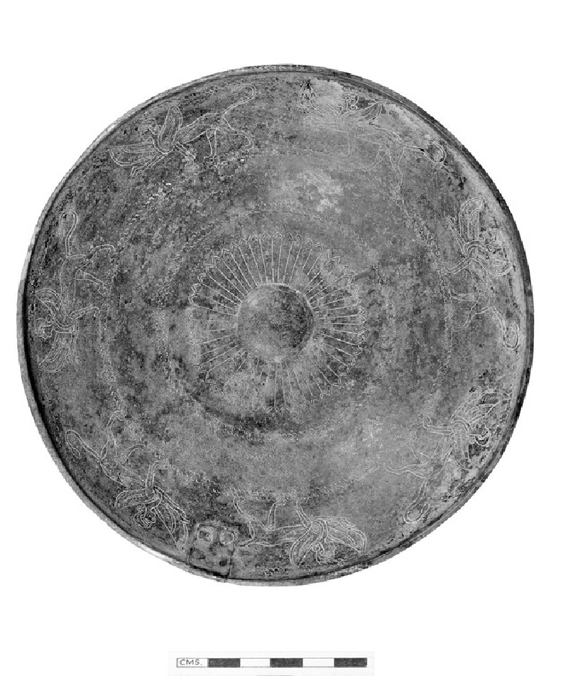 Shallow bronze bowl with engraved decoration of sphinxes