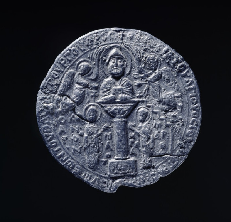 Medallion with Simeon Stylites on his pillar, flanked by angels with Greek inscription