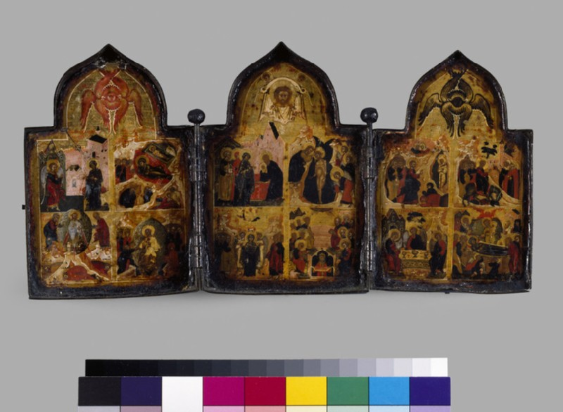 Icon triptych of The Twelve Feasts of the Church (AN1988.22)