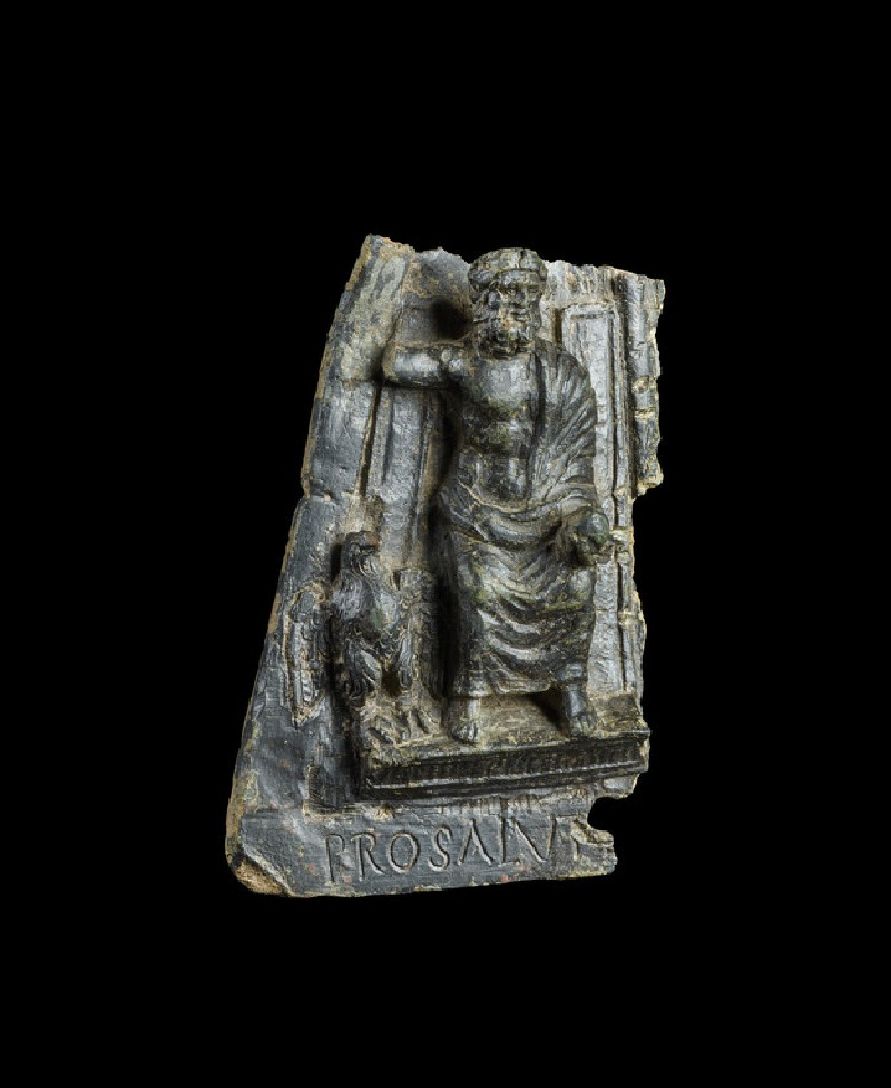 Part of a plaque with Latin inscription, Jupiter enthroned (AN1995.91)