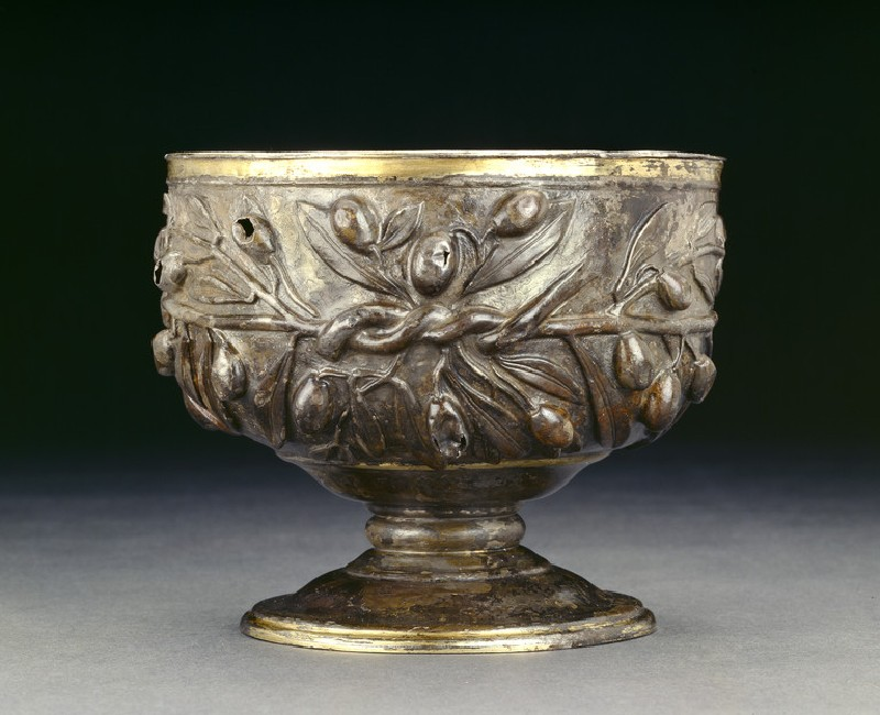 Gilded silver goblet decorated with sprays of olive, with a plain gold internal lining (AN2003.1)
