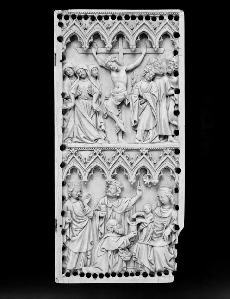 Diptych leaf depicting the Crucifixion and the Adoration of the Magi