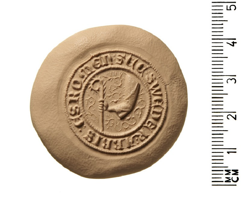 Secret seal matrix of Sweder, Abbot of Esrom, in the diocese of Roskilde, Denmark