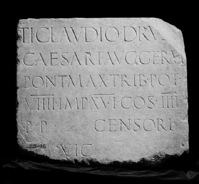 Latin inscription to Tiberius Claudius Caesar Augustus Germanicus (ANChandler.3.15)