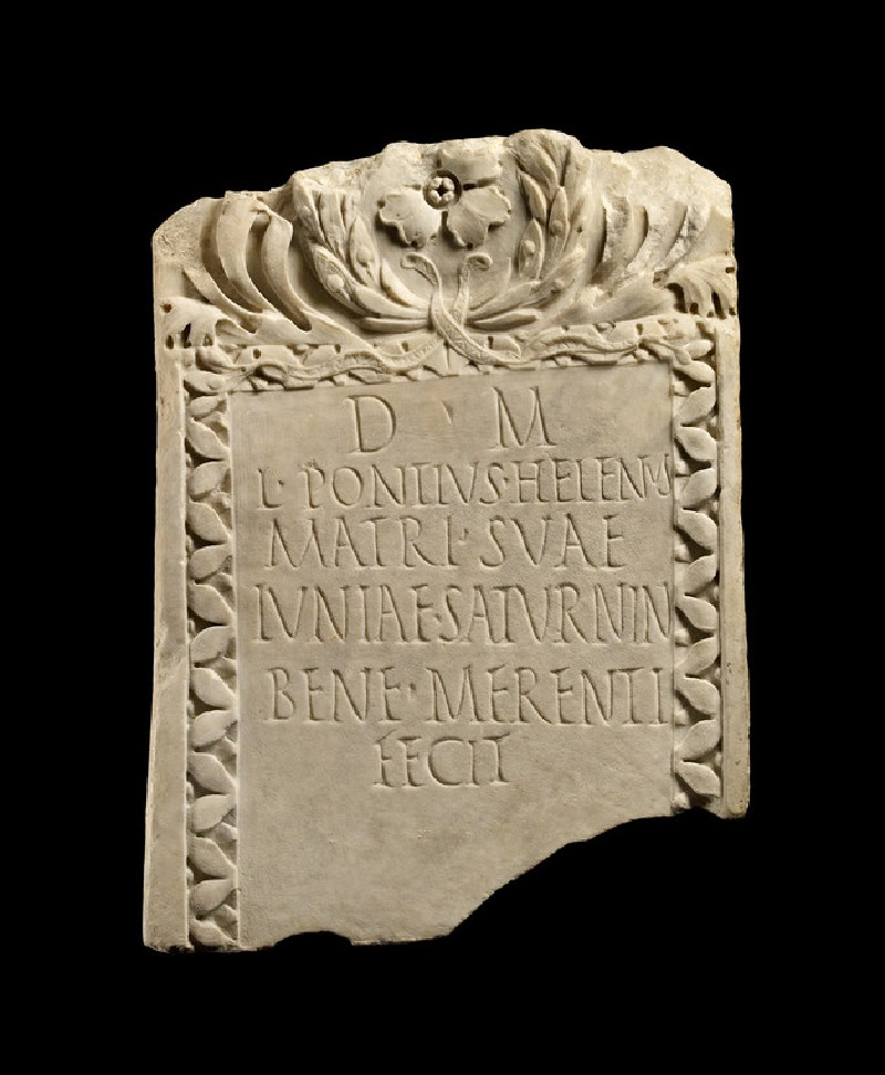 Tombstone with Latin inscription