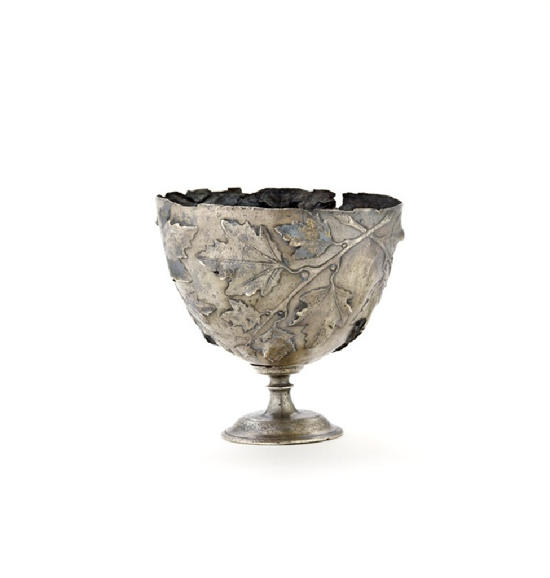 Silver cup decorated with sprays of vine leaves