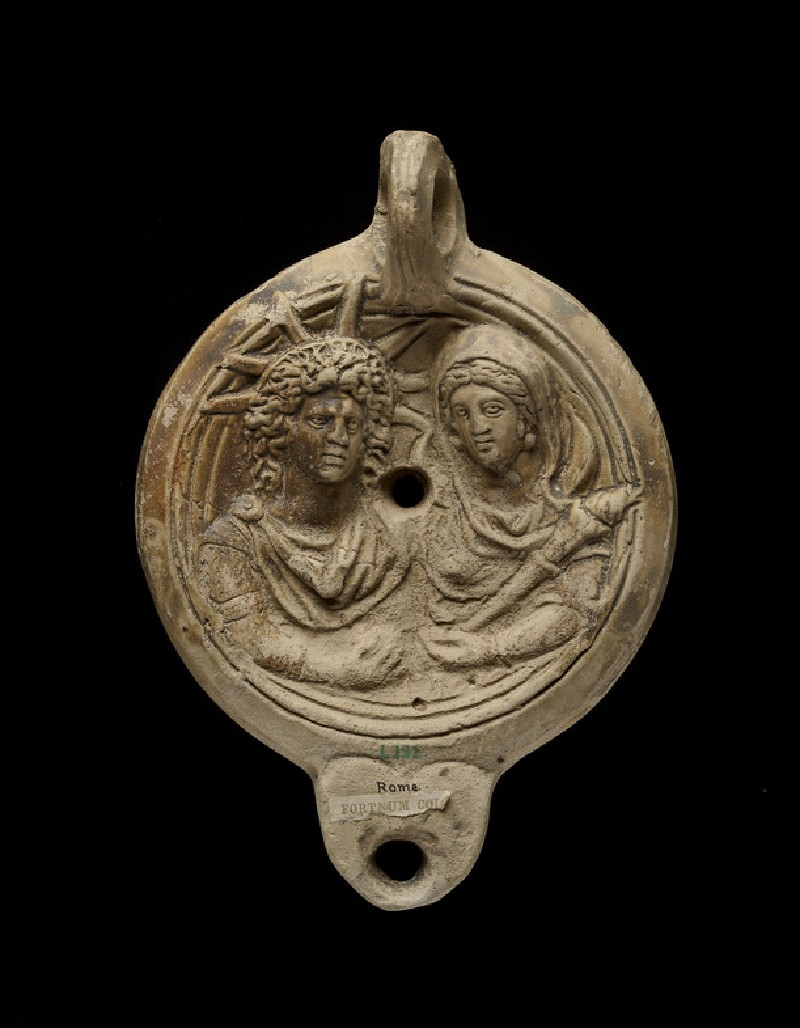 Oil lamp with depiction of Sol and Luna stamped SAECVL (ANFortnum.C.150)