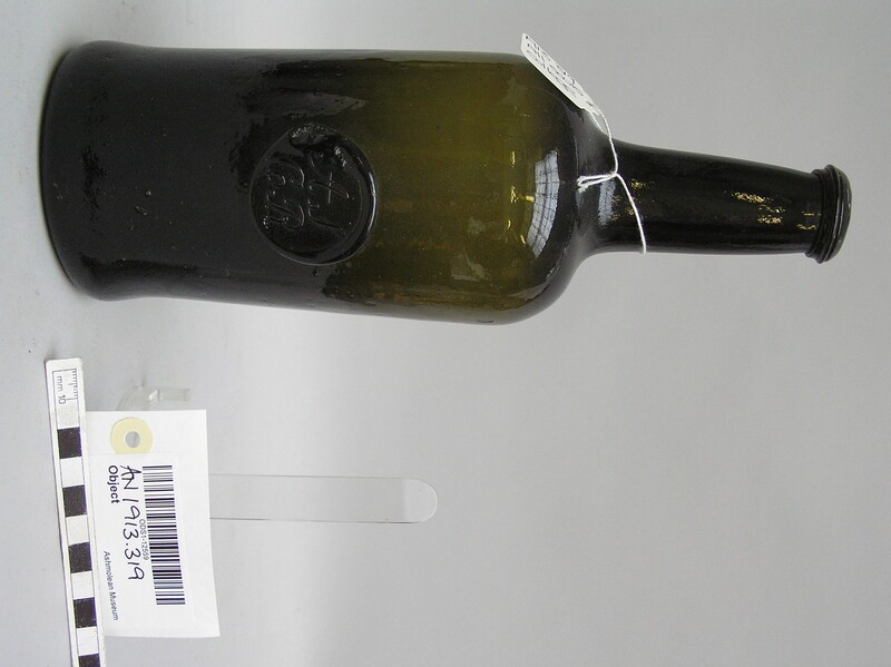Wine bottle of All Soul's College common room, stamped AS CR