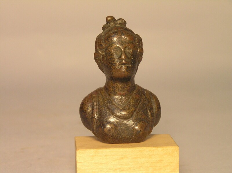 Bronze bust of Artemis, part of an antefix or furniture decoration