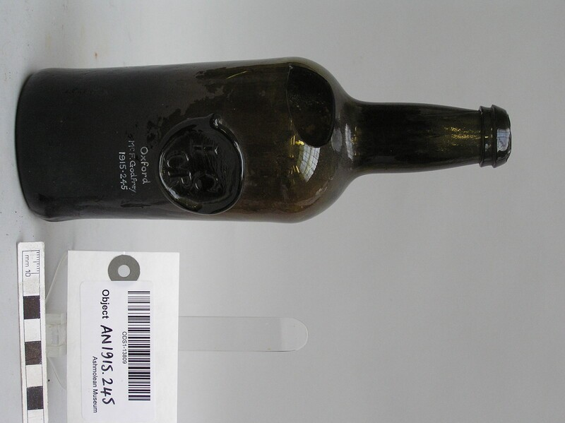 Bottle with stamp of Jesus College Common room